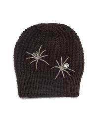 Jennifer Behr - Black Double Crystal Spider Knit Beanie Hat - Lyst