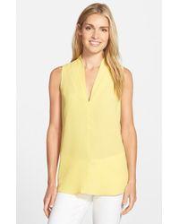 Pleione - Yellow Layered V-neck Sleeveless Blouse - Lyst