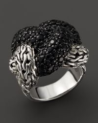 John Hardy - Metallic Classic Chain Sterling Silver Lava Large Braided Ring With Black Sapphire - Lyst