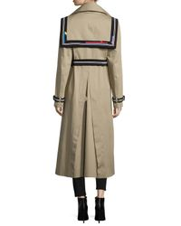 Preen By Thornton Bregazzi - Natural Sailor-back Long Trenchcoat - Lyst