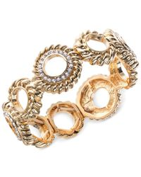 Jones New York | Metallic Gold-Tone Crystal Circle Stretch Bracelet | Lyst