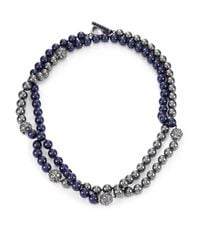 St. John | Gray Pearl Two-tone Rope Necklace | Lyst