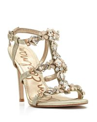 Sam Edelman | Metallic Selena Jeweled Sandals - Jute | Lyst