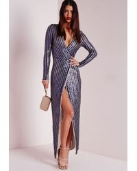 Missguided - Blue Premium Sequin Stripe Wrap Maxi Dress Navy - Lyst