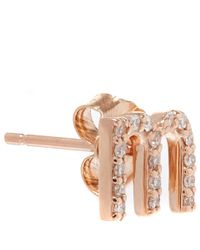 KC Designs - Pink Rose Gold Diamond M Single Stud Earring - Lyst