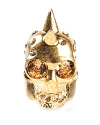 Alexander McQueen | Metallic Mohican Skull Cocktail Ring | Lyst