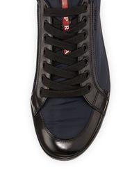 Prada - Blue Nylon and Leather Sneaker for Men - Lyst