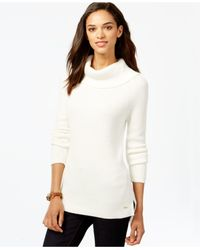 Tommy Hilfiger | White Ribbed Cowl-neck Sweater | Lyst