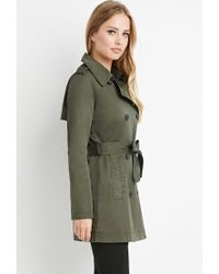 Forever 21 | Green Double-breasted Trench Coat | Lyst