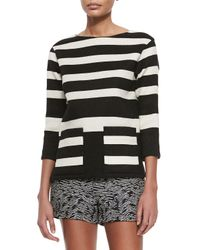 Derek Lam - Black Boat-neck Striped Pique Tunic - Lyst