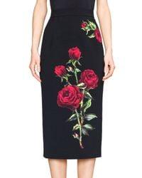 Dolce & Gabbana - Black Slim Rose Appliqué Pencil Skirt - Lyst