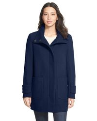 Kenneth Cole | Blue Stand Collar Wool Blend Twill Coat | Lyst