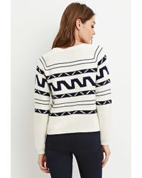 Forever 21 - Natural Boxy Abstract Stripe Sweater - Lyst