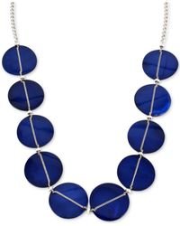 Kenneth Cole | Blue Silver-tone Chain-wrapped Circle Frontal Necklace | Lyst