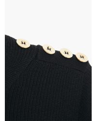 Mango - Black Decorative Button Sweater - Lyst