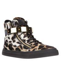 Giuseppe Zanotti | Black Leopard Print Hi-top Sneakers | Lyst