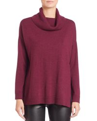 Eileen Fisher | Red Merino Wool Turtleneck Boxy Top | Lyst