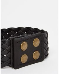 ASOS | Plaited Cuff Bracelet In Black for Men | Lyst