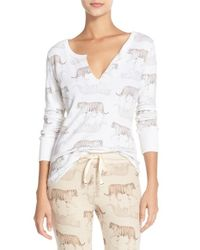 All Things Fabulous White 'tiger' Thermal Henley Sleep Shirt