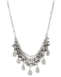 Steve Madden | Metallic Silver-Tone Shaky Pavé Teardrop Beaded Bib Frontal Necklace | Lyst