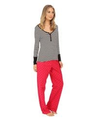 Betsey Johnson - Red Rib And Flannel Pajama - Lyst