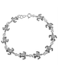 Aeravida | Metallic Cute Sea Turtles Link Sterling Silver Bracelet | Lyst