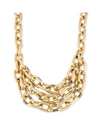 Kenneth Cole - Metallic Goldtone Chunky Link Multirow Frontal Necklace - Lyst