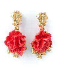 Oscar de la Renta - Pink Floral Clip-On Earrings - Lyst