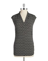 Vince Camuto | Black Patterned V-neck Tank | Lyst