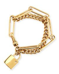 Marc By Marc Jacobs | Metallic Double-Wrap Chain Lock Bracelet | Lyst