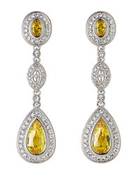 Nadri | Metallic Citrine Three-Drop Earrings | Lyst