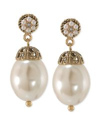 Carolee - Metallic 14k Antique Goldtone Glass Pearl Drop Earrings - Lyst