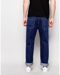 ASOS - Standard Leg Jeans In Mid Blue for Men - Lyst