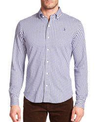 Polo Ralph Lauren | Blue Gingham Knit Dress Shirt for Men | Lyst