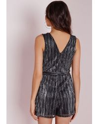 Missguided | Metallic Pleat Playsuit Silver | Lyst