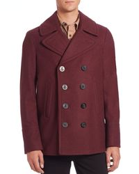 Burberry - Red Eckford Wool & Cashmere Peacoat for Men - Lyst