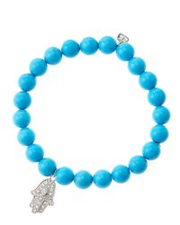 Sydney Evan | Blue 8Mm Turquoise Beaded Bracelet With 14K White Gold/Diamond Medium Hamsa Charm (Made To Order) | Lyst