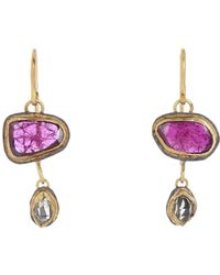 Judy Geib | Purple Women's Ruby & Herkimer Diamond Double-drop Earrings | Lyst