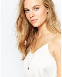 Pieces - Metallic Laura Pendant Necklace - Lyst