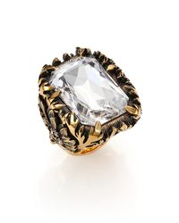 Alexander McQueen | Metallic Crystal Floral Cocktail Ring | Lyst