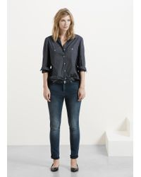 Violeta by Mango - Blue Polka-dot Cotton Shirt - Lyst