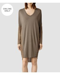 AllSaints - Brown Hale Dress - Lyst