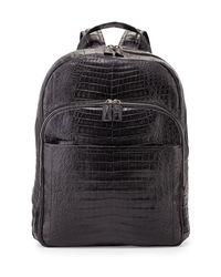 Santiago Gonzalez - Black Crocodile Backpack for Men - Lyst