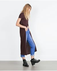 Zara | Purple Long T-shirt With Front Vent | Lyst