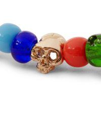 Luis Morais - Red Gold Skull and Bead Bracelet for Men - Lyst