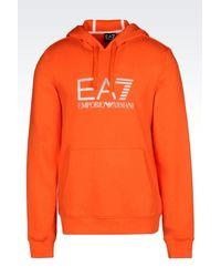 EA7 - Orange Hooded Sweatshirt for Men - Lyst