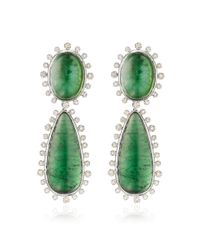 Faraone Mennella | 18k White Gold Green Tourmaline Earrings | Lyst