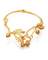 Alexander McQueen - Metallic Leaves Acorn Choker Necklace for Men - Lyst