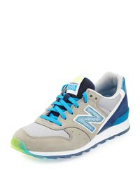 New Balance | Blue 696 Metallic Detailed Leather Trainer | Lyst