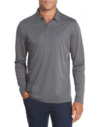Robert Barakett | Gray Modern Fit Long Sleeve Pima Cotton Polo for Men | Lyst